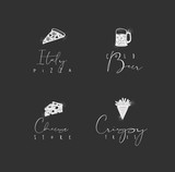 Food sign pizza, beer, cheese, fries chalk - 225853283