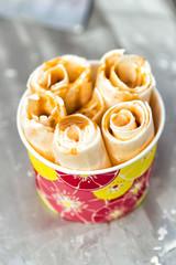 Traditional Thai ice cream with caramel