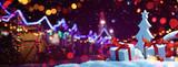 Christmas Fair with Street Festive Light. Holiday concept - 225867603