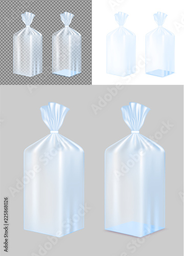 Transparent blue foil or paper packaging. Sachet for bread, coffee, sweets, cookies and gift