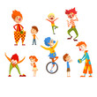 Clowns and happy little kids set, children having fun at birthday, carnival party or circus performance vector Illustration on a white background - 225868426