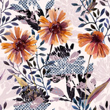 Autumn background. Abstract floral seamless pattern - 225870478