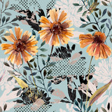 Autumn background. Abstract floral seamless pattern - 225870492