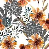Autumn background. Abstract floral seamless pattern - 225870496