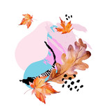 Abstract composition of autumn oak, maple leaves, fluid shapes, minimal grunge element, doodle - 225870649