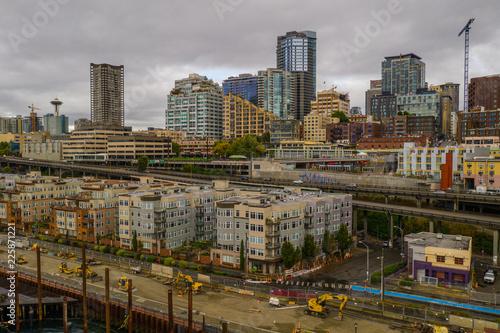 Foto Murales Seattle Market District industrial aerial image