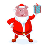 Funny boar dressed as Santa with a gift. Christmas vector illustration. - 225873044