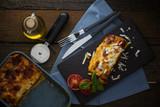 italian classic dish lasagna with tomato sauce - 225873634