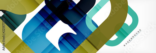 Square geometric background, multicolored template for business or technology presentation or web brochure cover layout, wallpaper. - 225877819