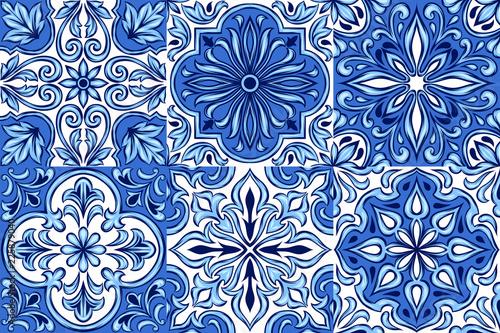 Portuguese azulejo ceramic tile pattern. © incomible