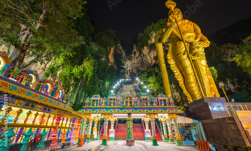 Batu Caves Kuala Lumpur Malaysia, scenic interior limestone cavern decorated with temples and Hindu shrines, travel destination in South East Asia trip.