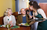 Waitress with mature guests . - 225892000