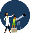 Little girl looking in a telescope, supervised by a female astronomer, EPS 8 vector illustration