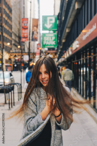 Girl on the street of Chicago