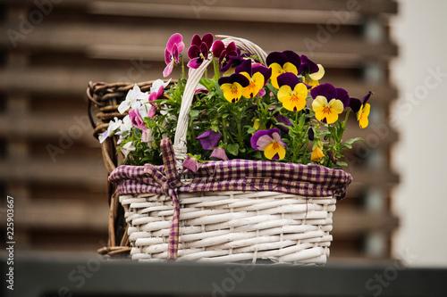 Blumenkorb auf dem Tisch