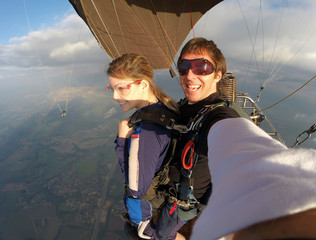 Selfie tandem skydiving with pretty woman © freefly
