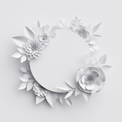 3d render, abstract white paper flowers, round frame, floral background, decoration, greeting card template, blank banner