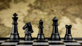 Black chess figures on board.- business idea for competition. - Success and Leadership concept