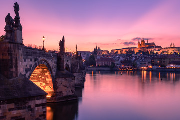 Charles bridge and Prague castle at dusk