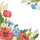 Flower frame in watercolor style. Beautiful watercolor frame with poppies, cornflowers, daisies and wild herbs. Flower composition for greeting cards, invitations and other printed materials.