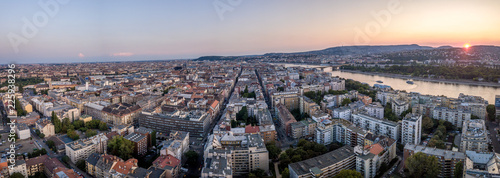Aerial sunset view of Budapest with apartment buildings - 225938296