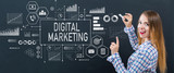 Digital marketing with young woman writing on a blackboard - 225961684