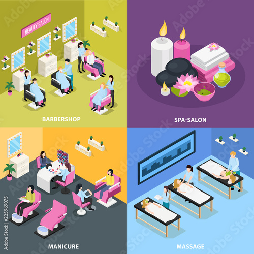 Beauty Salon Isometric Design Concept - 225969075