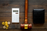 Financial failure, bankruptcy concept. personal bankruptcy. Judge gavel, wallet, coins, calculator on dark wooden background top view - 225974650