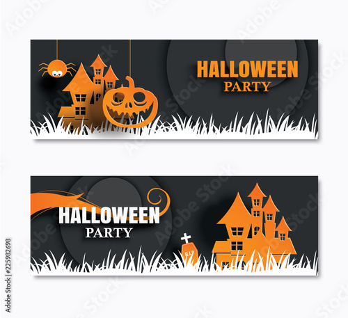 Fototapeta Halloween Party Invitations Banner And Greeting