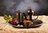 Cup coffee with sugar, coffee pot and coffee mill. Coffee in oriental style