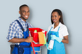 Portrait Of An African Male And Female Janitor - 225995252