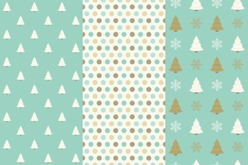 Christmas seamless pattern, dot and Christmas tree © lukpedclub
