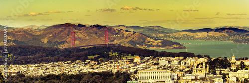 Leinwandbild Motiv Panorama San Francisco Golden Gate Bucht
