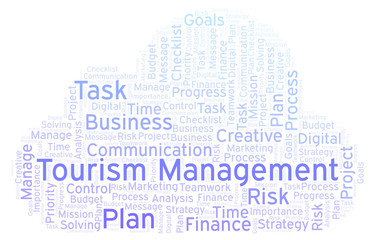 Tourism Management word cloud, made with text only.