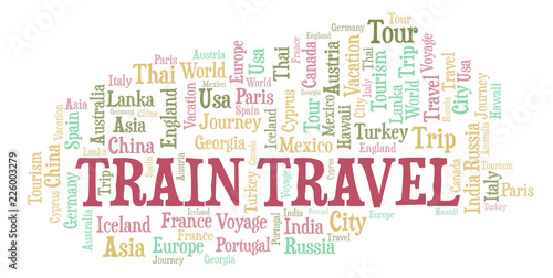 Fototapeta Train Travel word cloud.