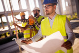 Picture of construction engineer working on building site - 226005247