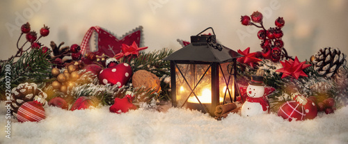 Leinwanddruck Bild Nostalcig christmas decoration banner