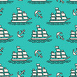 Trendy ocean pattern with childish drawing line art seamless multicolor isolated on blue background. Vector illustration for fashion wrapping and textile print. - 226007879