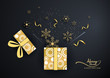 background and golden snowflake pop up from gift box,light ,christmas ,happy new year.