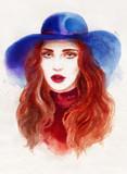 beautiful woman. fashion illustration. watercolor painting - 226010206
