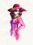 beautiful woman. fashion illustration. watercolor painting - 226010248