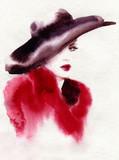 beautiful woman. fashion illustration. watercolor painting - 226010411