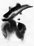 beautiful woman. fashion illustration. watercolor painting - 226010440