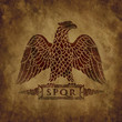 Logo of the Roman eagle on an old shabby texture.