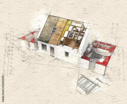 Leinwandbild Motiv Ecological construction