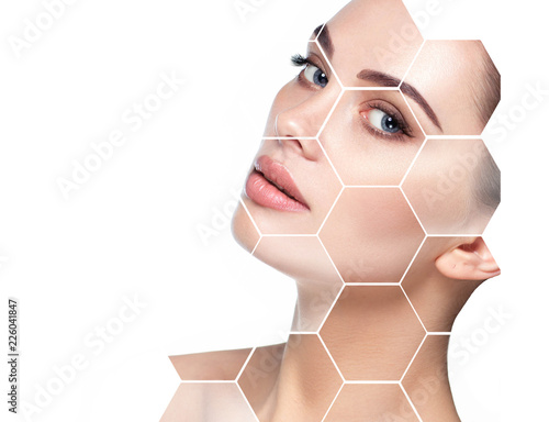 Leinwandbild Motiv beautiful face woman with holographic honeycomb in face. Future concept of lifting skin effect and plastic surgery.