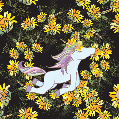 Retro style Illustration with flowers and animal - 226045673