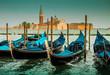 Quadro Italy, Venice landscape with gondolas - blue tones