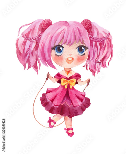 Cute little girl jumping with rope. Vector hand-drawn manga style chara - 226050823