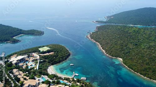 Fototapeten Strand Aerial drone bird's eye view photo of iconic paradise sandy beaches with turquoise sea in complex islands of Agios Nikolaos and Mourtos in Sivota area, Ionian sea, Epirus, Greece